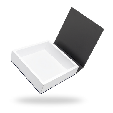 Square white tray - black lid magnetic closure box