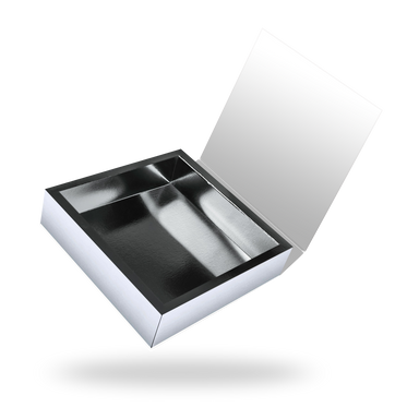 White outside, Silver inside Square Magnetic Box