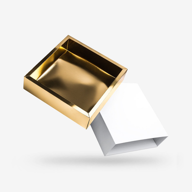 Square gold tray - white lid rigid sleeve box