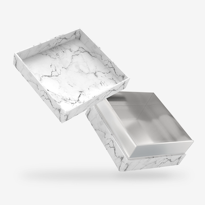 White marble outside, Silver inside Box with Lid - open