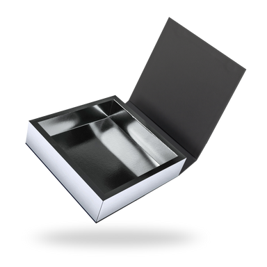 Black outside, Silver inside Square Magnetic Box - open