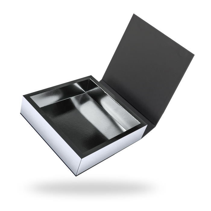Square silver tray - black lid magnetic closure box