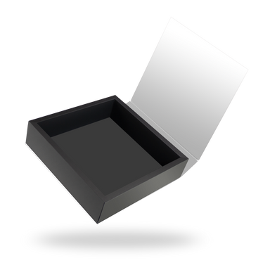 Square black tray - white lid magnetic closure box