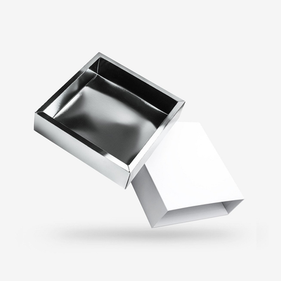 White outside, Silver inside Square Rigid Sleeve Box - open