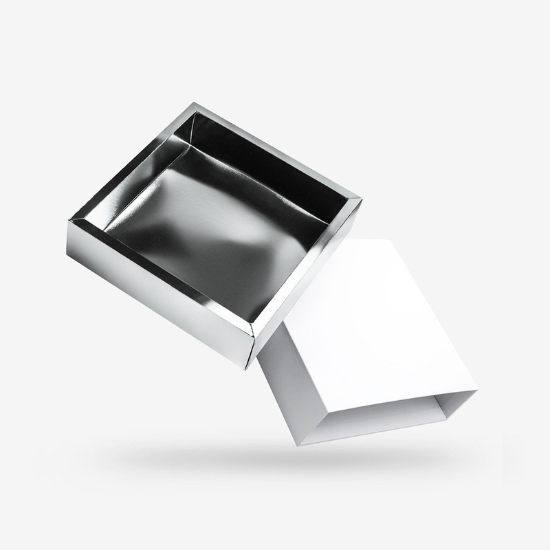 White outside, Silver inside Square Rigid Sleeve Box - closed