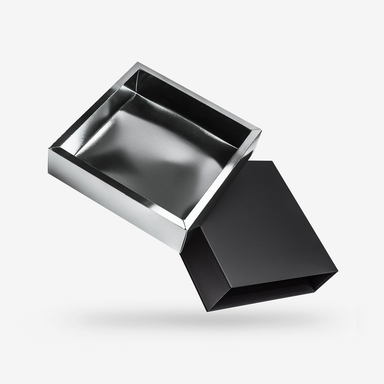 Square silver tray - black lid rigid sleeve box