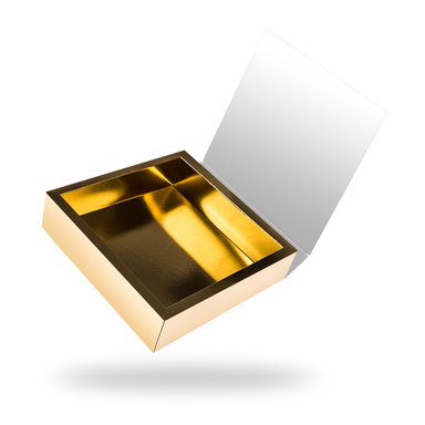 Square gold tray - white lid magnetic closure box