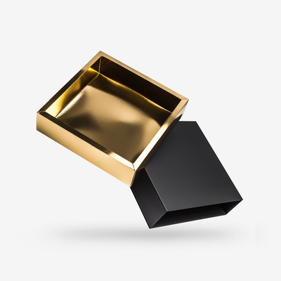 Black outside, Gold inside Square Rigid Sleeve Box - open