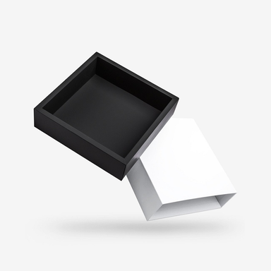 Square black tray - white lid rigid sleeve box