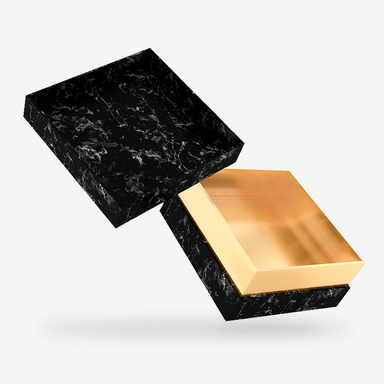 Black Marble outside, Gold inside Box with Lid - open