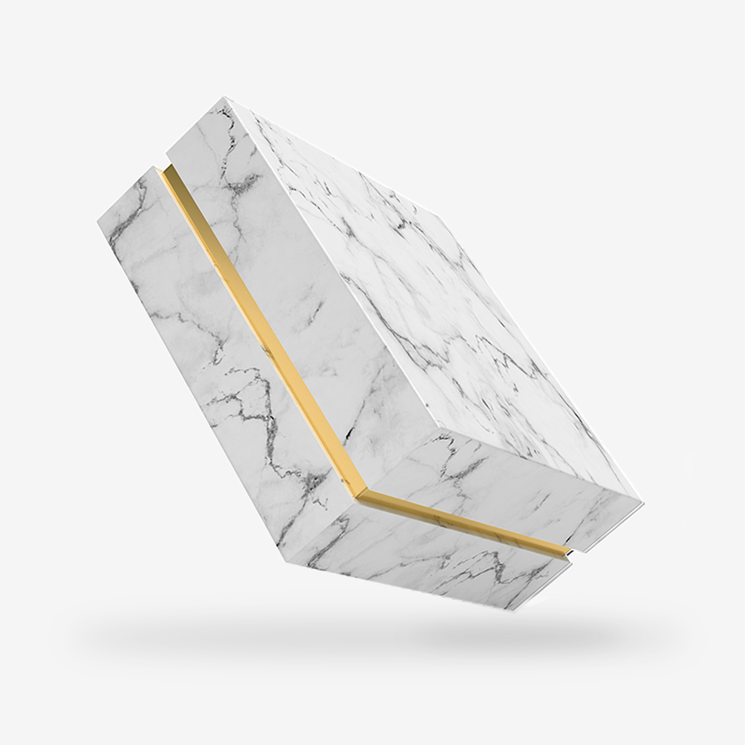 Square gold tray <br>white marble <br>removable lid box