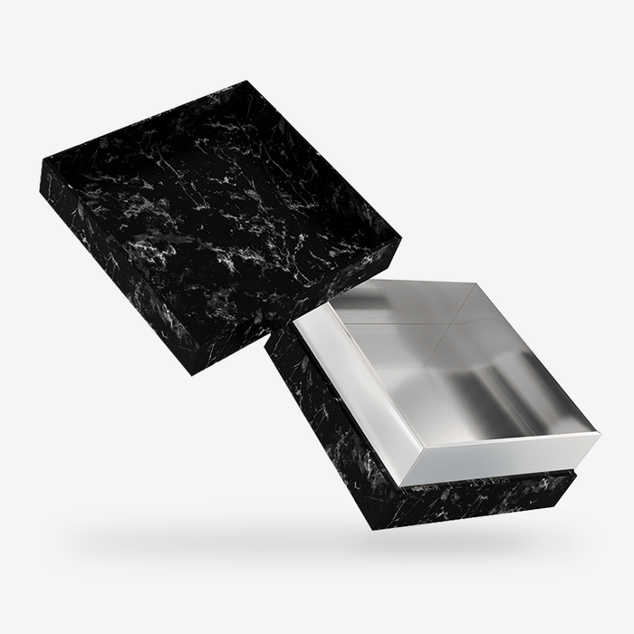 Square black marble removable lid box with silver tray