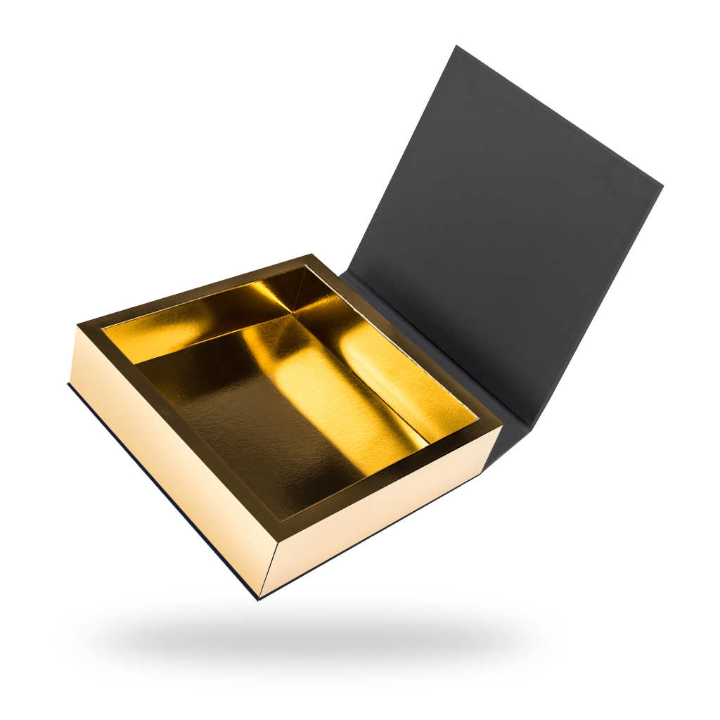 Black outside, Gold inside Square Magnetic box - open
