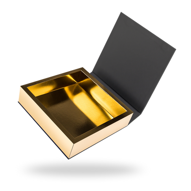 Black outside, Gold inside Square Magnetic box