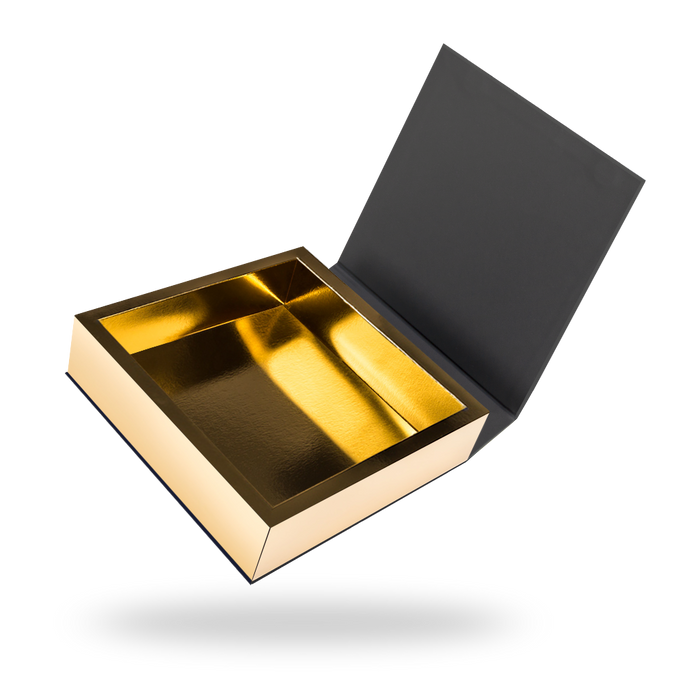 Square gold tray - black lid magnetic closure box