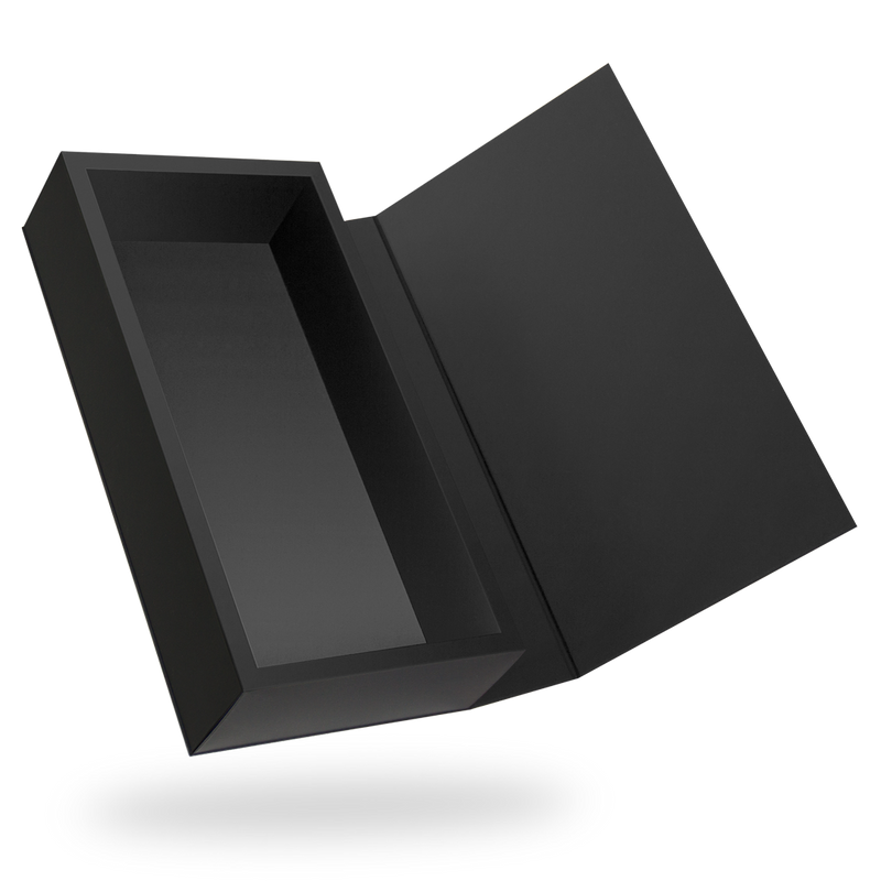 RECTANGULAR BLACK TRAY MAGNETIC CLOSURE BOX <BR>WITH BLACK LID