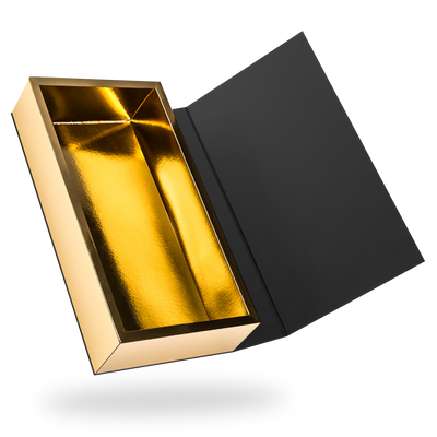 RECTANGULAR GOLD TRAY MAGNETIC CLOSURE BOX <BR>WITH BLACK LID
