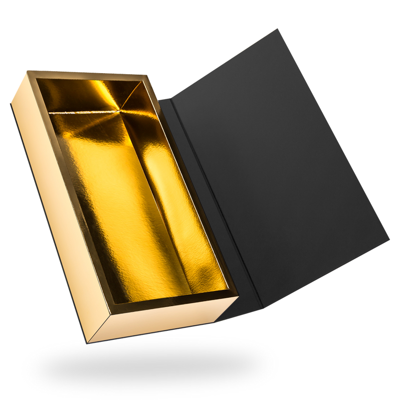 Black outside, Gold inside Rectangular Magnetic Box - closed