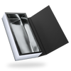 RECTANGULAR SILVER TRAY <br>MAGNETIC CLOSURE BOXES WITH BLACK COVER