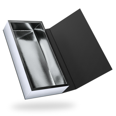Rectangular black magnetic closure box - Silver tray