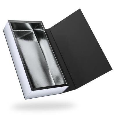 RECTANGULAR SILVER TRAY MAGNETIC CLOSURE BOX <BR>WITH BLACK LID