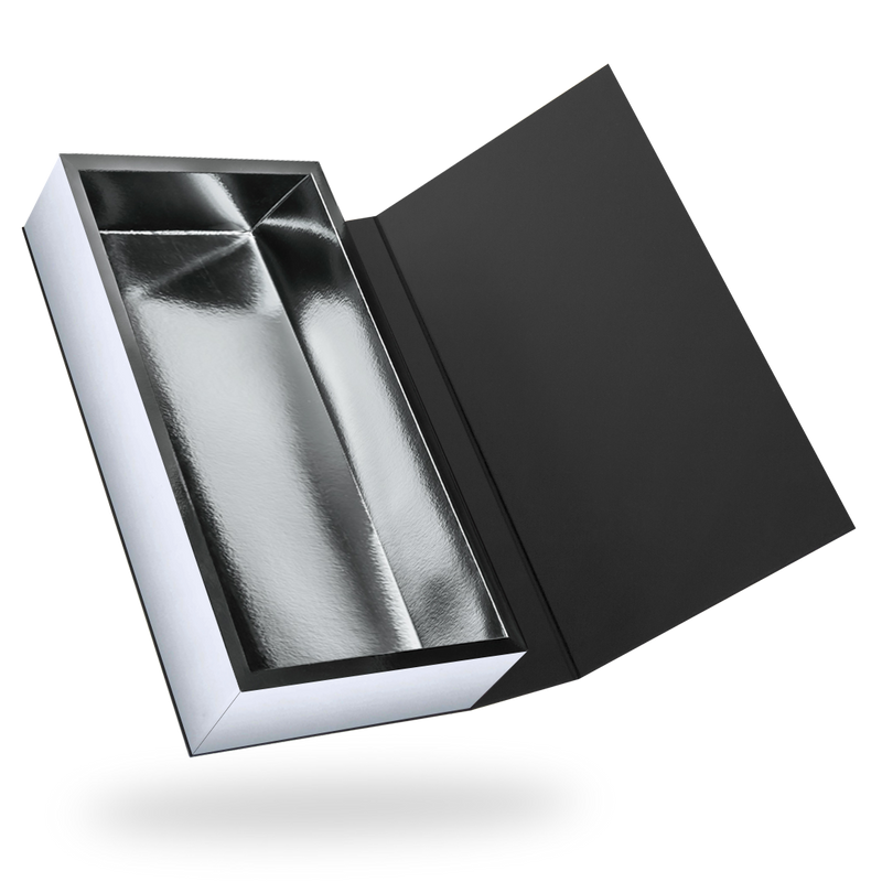 Black outside, Silver inside Rectangular Magnetic Box - closed