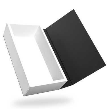 Rectangular white tray - black lid magnetic closure box