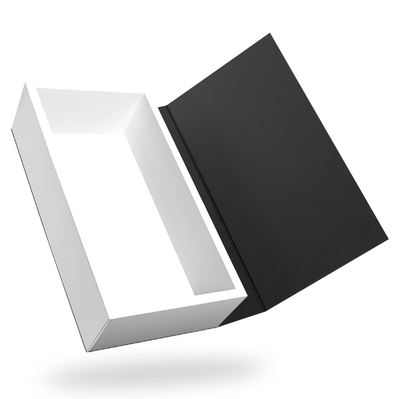 RECTANGULAR WHITE TRAY MAGNETIC CLOSURE WITH BLACK LID