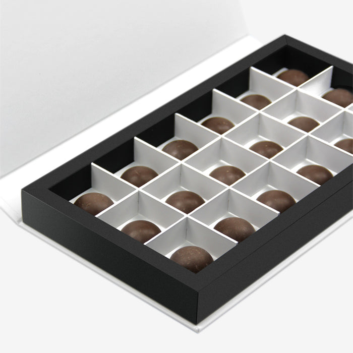 "10x5x1"" black and white magnetic closure chocolate box with partition that holds chocolate - open"