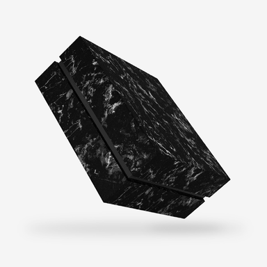 Square black tray - black marble removable lid box