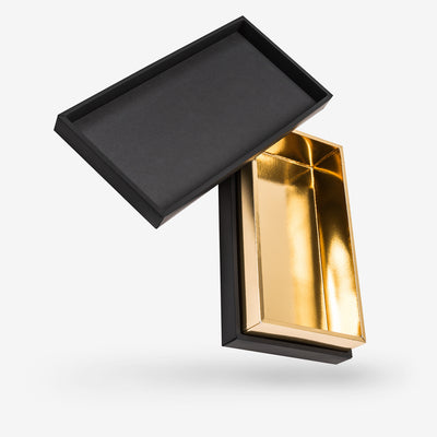 Black outside, Gold inside Rectangular Box with Lid - open