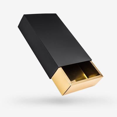 Black outside, Gold inside Rectangular Rigid Sleeve Box - open