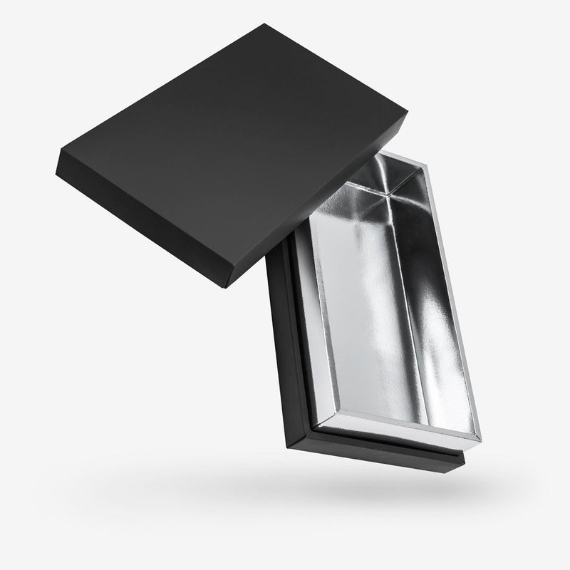 Black outside, Silver inside Rectangular Box with Lid - closed