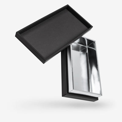 Black outside, Silver inside Rectangular Box with Lid
