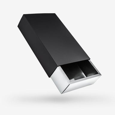 Rectangular black rigid sleeve box - Silver tray