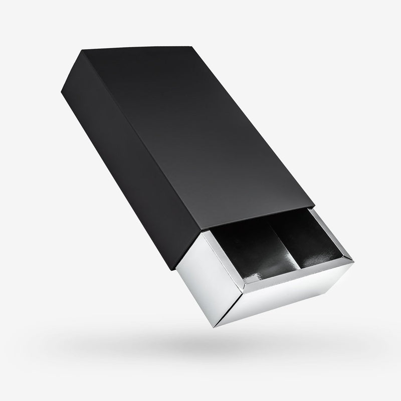 Black outside, Silver inside Rectangular Rigid Sleeve Box - closed