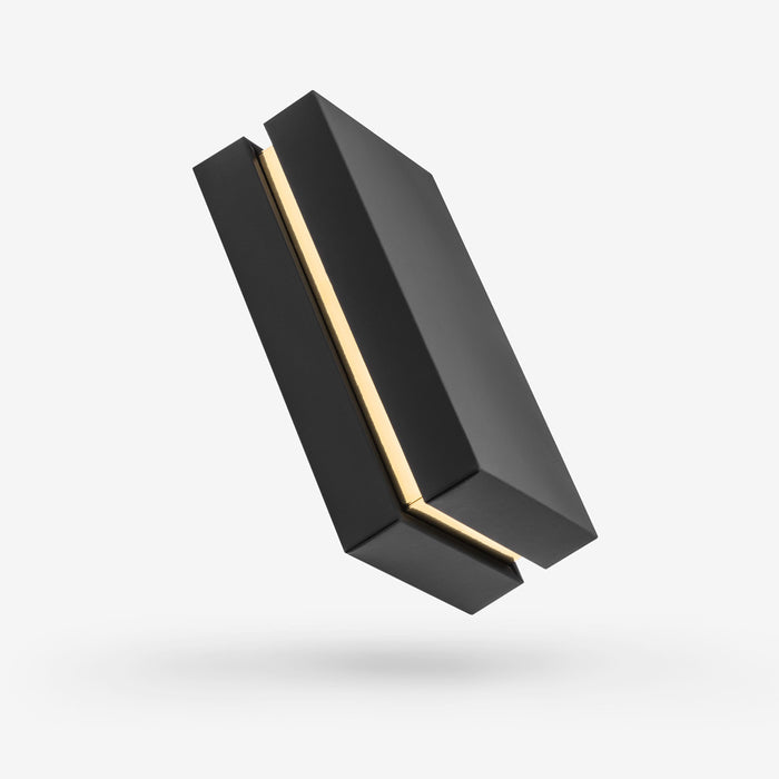 Black outside, Gold inside Rectangular Box with Lid - closed