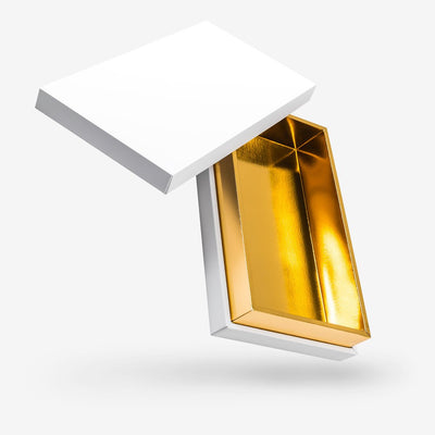 White outside, Gold inside Rectangular Box with Lid - open