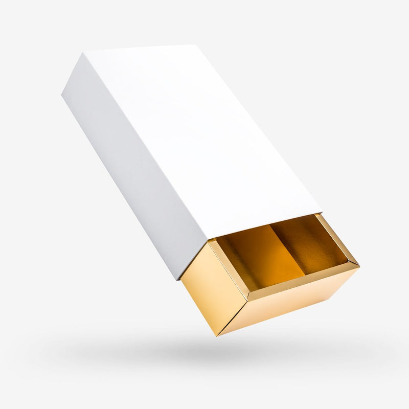White outside, Gold inside Rectangular Rigid Sleeve Box - closed