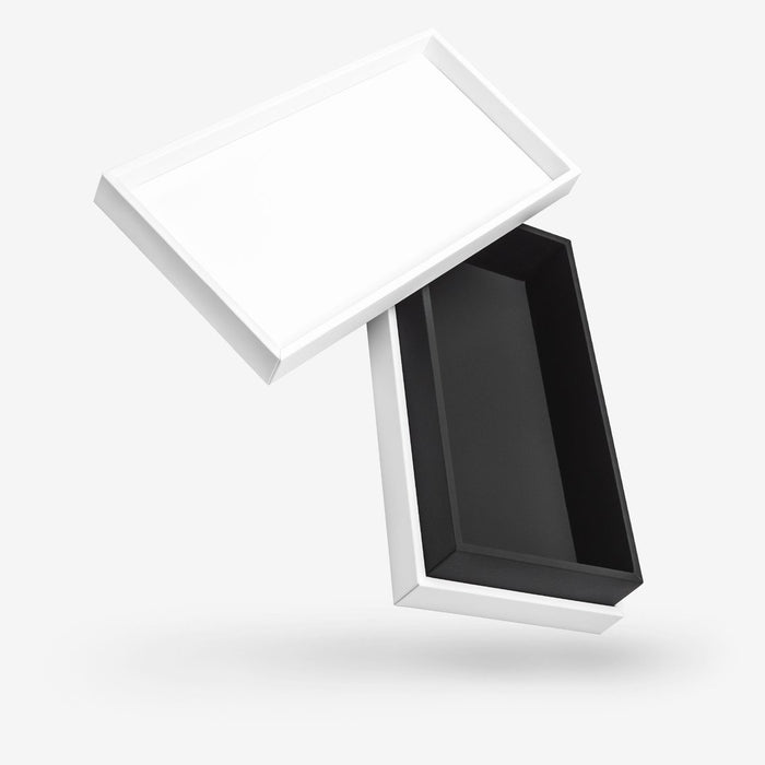 Rectangular white removable lid box - Black tray