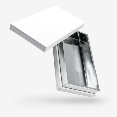 White outside, Silver inside Rectangular Box with Lid - open