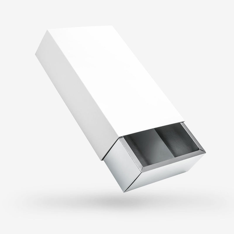 White outside, Silver inside Rectangular Rigid Sleeve Box - closed
