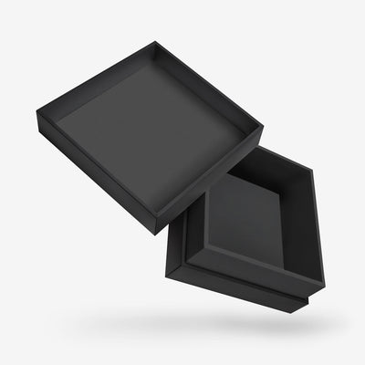 SQUARE BLACK TRAY<br>REMOVABLE LID BOX