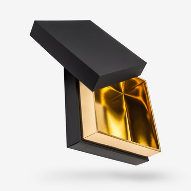 Black outside, Gold inside Square Box with Lid - open