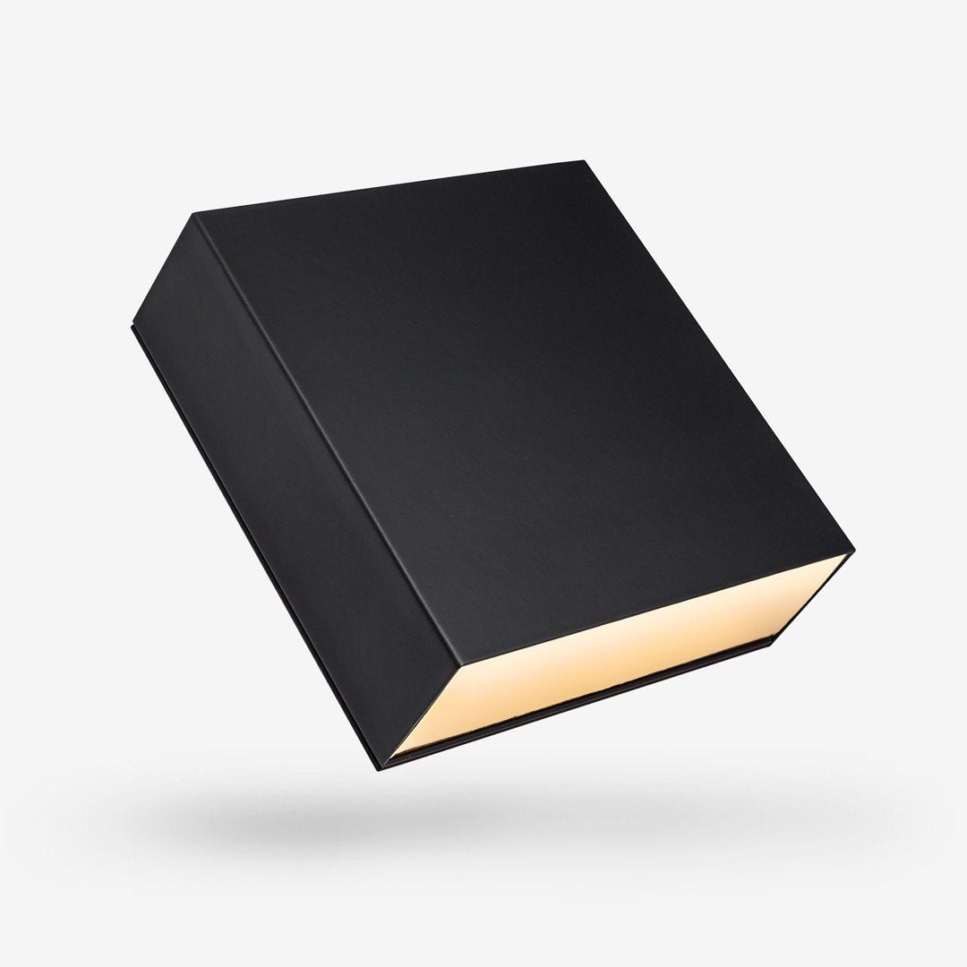 Black outside, Gold inside Square Rigid Sleeve Box - closed