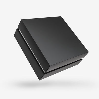 Black outside, White inside Square Box with Lid - closed