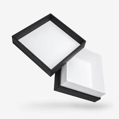 Black outside, White inside Square Box with Lid - open