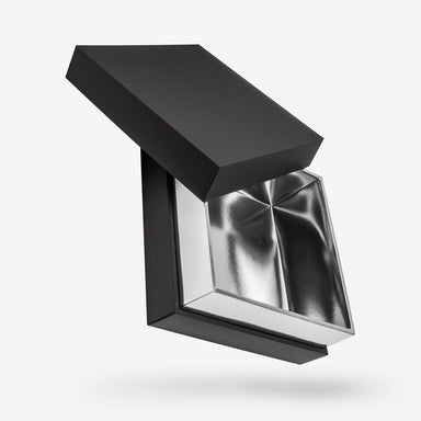 Black outside, Silver inside Square Box with Lid - open