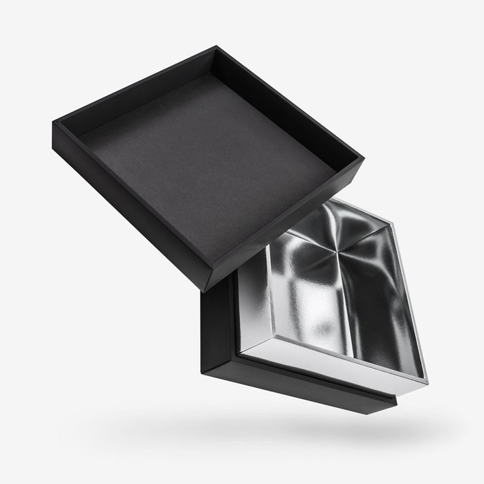 Square silver tray - black lid removable lid box