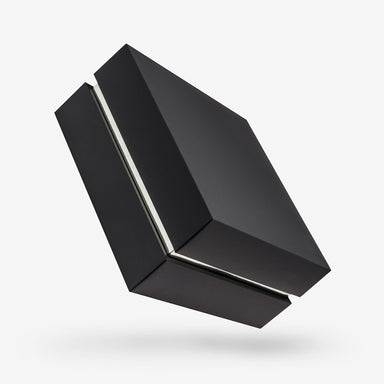 Square black removable lid box - Silver tray
